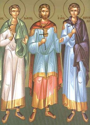 Sfintii Mucenici Trofim, Savatie si Dorimedont