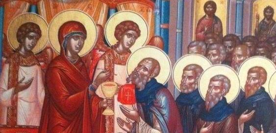 Maica Domnului impartasind, o reprezentare iconografica rara