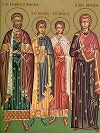 Sfantul Mare Mucenic Eustatie si sotia sa Teopista, cu cei doi fii, Agapie si Teopist