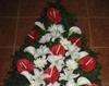 Coroana cu anthurium, cale,crini si crizanteme