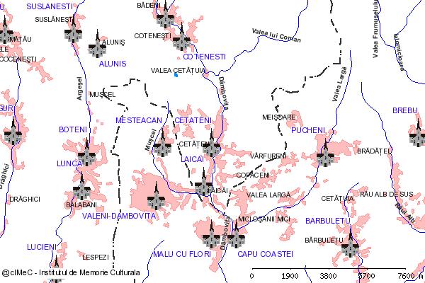 Ruinele Bisericilor de la Cetateni - platoul de langa rau (platoul de pe malul stang al Dambovitei, intre Valea lui Coman si Valea Chiliilor (Chitului) si monticolul Cetatuia)-CETATENI (com. CETATENI)