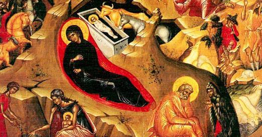 Boul si asinul in icoana Nasterii Domnului