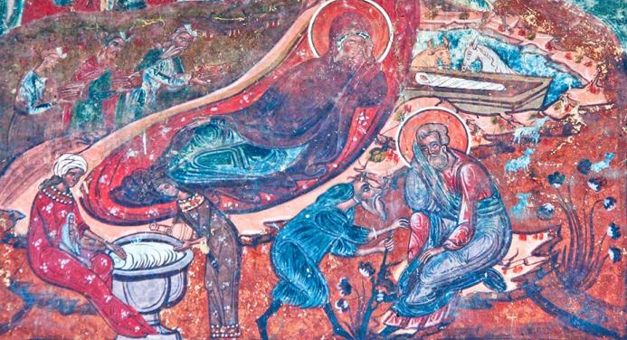 Scena spalarii din icoana Nasterii Domnului
