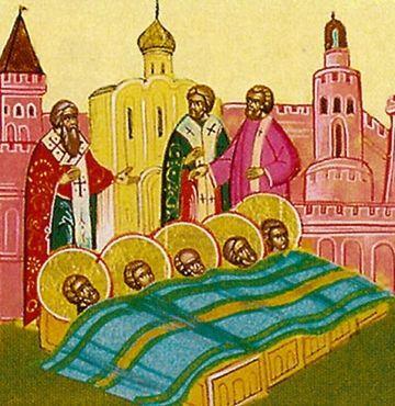 Rugaciuni la Aflarea moastelor Sfintilor Mucenici din Evghenia
