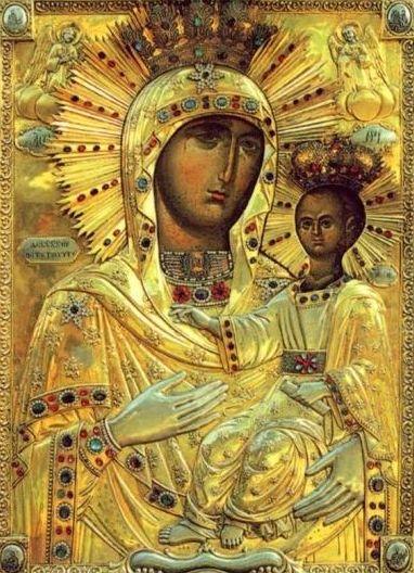 Rugaciune in fata icoanei Maicii Domnului de la Manastirea Neamt