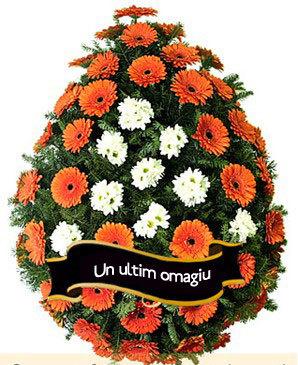 Coroana funerara din gerbera si crizanteme