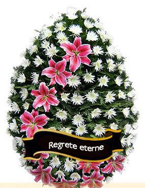Coroana funerara din crini si crizanteme