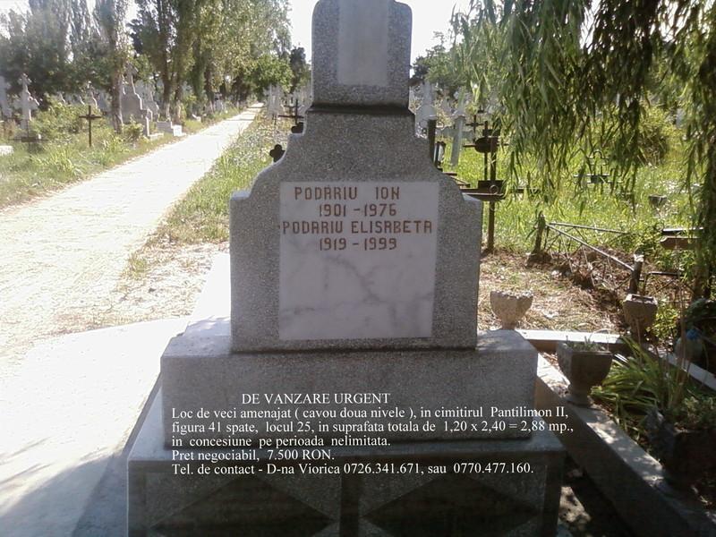 De vanzare urgent loc de veci amenajat cu doua nivele  - Cimitirul Pantelimon 2