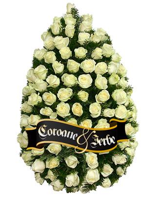 Coroana funerara din 100 de trandafiri