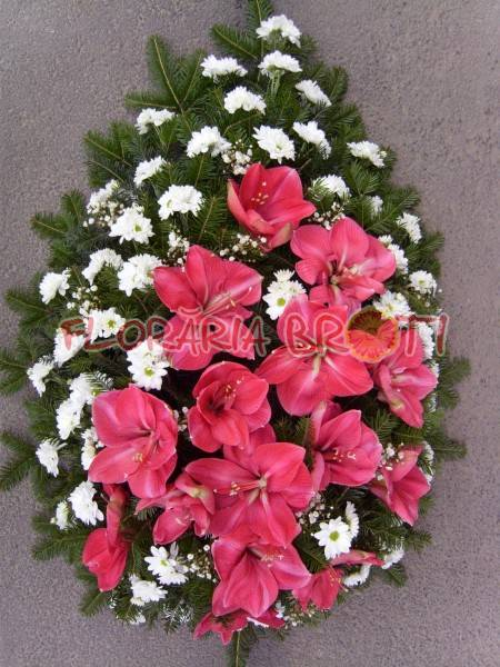 Coroana funerara din crin si crizanteme